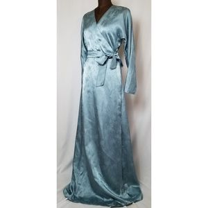 40's Satin Jacquard Dressing Gown Wrap Dress S